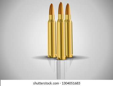 Stylish cartridge.live cartridge.Vector image of a set of ammunition.Illustration of live ammunition on white background. The template is perfect for postcards on February 23 and as a background .