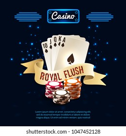 Stylish casino realistic composition with royal flush headline on the ribbon and card set vector illustration