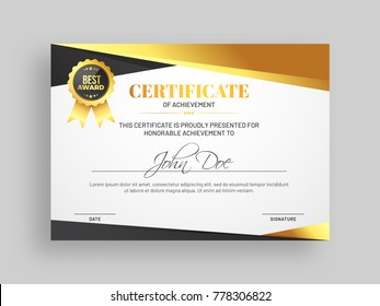 certificate achievement award template glossy golden stock vector
