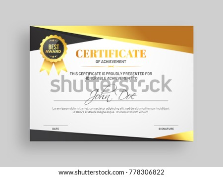 stylish certificate achievement award template glossy stock vector