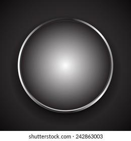 Stylish circle object with shiny, metallic border