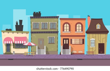 Stylish city background for mobile game. Vector illustration