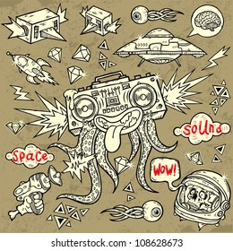 Stylish clip-art collection Music Space