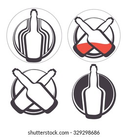 Stylish collection of alcohol emblems. Illustration in vector format