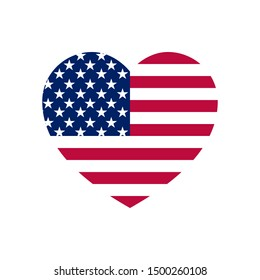 Stylish colored minimalistic mockup in the shape of the heart of the USA flag.