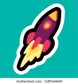 Stylish colorful cartoon business sticker with rocket as startup symbol. Time management insignia. Task management icon. Vector