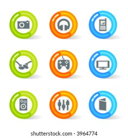 Stylish colorful gel Icons with media symbols; easy edit layered files.
