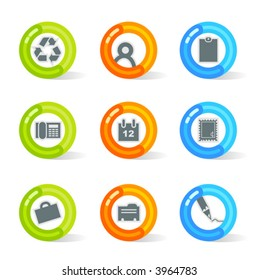 Stylish colorful gel Icons with office symbols; easy edit layered files.