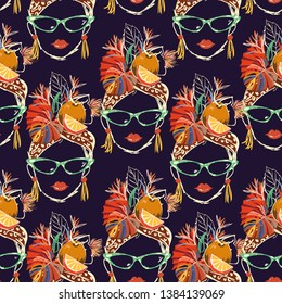 Stylish and colorful Hand drawn Havana tropical women characters with summer mood cartoon seamless pattern on a navy blue background color