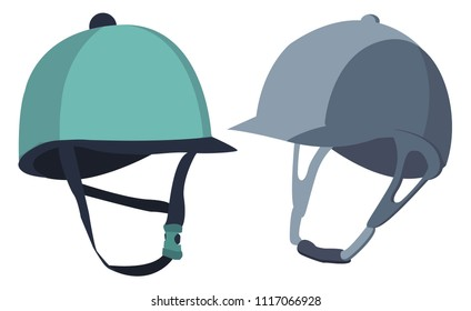Stylish colorful helmets for equestrian sport. Convenience, comfort, safety. Competitions, horse riding, equestrian sport. Modern vector flat design image isolated on white background