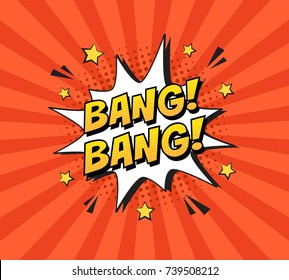 Stylish colorful retro comic speech bubble on halftone orange color background. Expression text BANG BANG. Vector illustration, vintage design, pop art style.