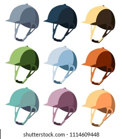 Stylish colorful set of helmets for equestrian sport. Convenience, comfort, safety. Competitions, horse riding, equestrian sport. Modern vector flat design image isolated on white background