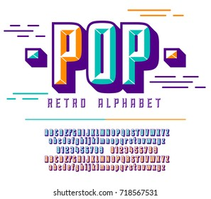 Stylish colorful stylized retro pop art font, alphabet with numbers, upper and lower case letters.