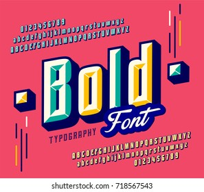 Stylish colorful stylized retro pop art font, oblique alphabet with numbers, upper and lower case letters.