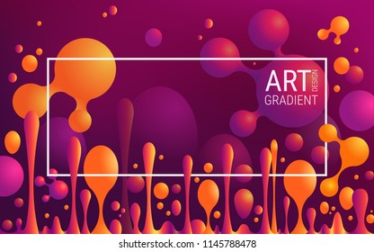 Stylish colorful vibrant gradients and geometric shapes. Red, orange and ultraviolet colors. Abstract vector posters with abstract balls and liquid bubbles. Paint splashes. Presentations, brochures.
