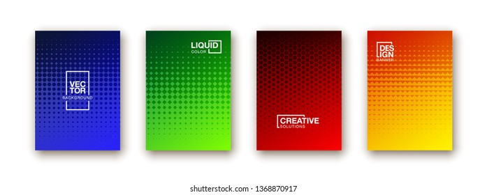 Stylish colorfull dots point banner templates, points gradient backgrounds for business cover. Curve shapes dot edge halftone texture gradient banners set.