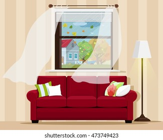 Stylish comfortable room interior with sofa, lamp, window and autumn landscape. Flat style vector illustration.