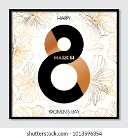 Stylish composition for women's day. Geometric floral seamless background. Golden hibiscus flowers on a white background. Postcard, poster, invitation, cover, elements for the women's day.
