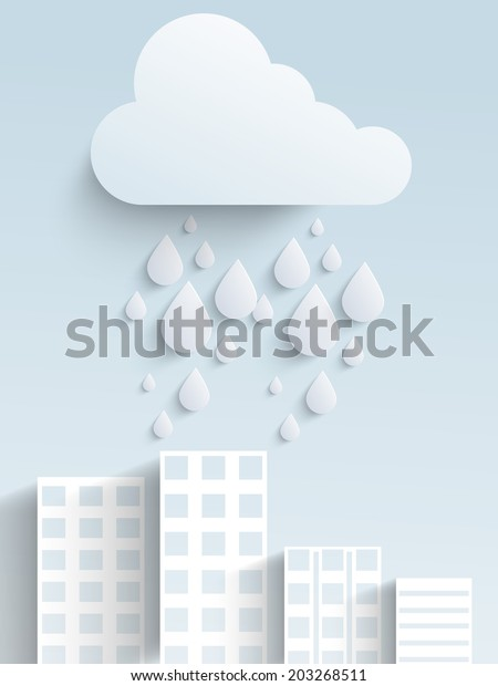 Stylish concept with water drops falling from cloud, urban city background.