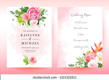 Stylish coral watercolor and flowers vector design cards. Wedding invitation with fuchsia pink rose, hydrangea, carnation, strelitzia, greenery. Living coral 2019 trendy color collection. Editable.
