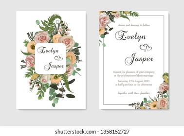 Stylish coral watercolor and flowers vector design cards. Flowers, rose, eustoma cream, brunia, green fern, eucalyptus, branches. Decorative vertical rectangle. Trendy 2019 color collection. Editable