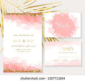 Stylish coral watercolor and gold glitter vector design card. Golden foil frame. Elegant wedding invitation. Splash texture. Boho style.Living coral 2019 trendy color collection. Isolated and editable