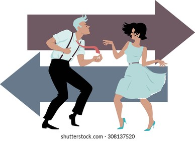 Stylish couple dressed in early 1960s fashion dancing the twist, two arrows on the background, EPS 8