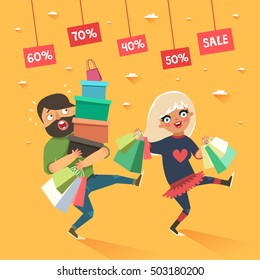 Stylish couple shopping. Happy blonde girl and tired boyfriend or husband with shopping bags. Vector colorful illustration in flat style