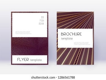 Stylish cover design template set. Gold abstract lines on maroon background. Favorable cover design. Fetching catalog, poster, book template etc.