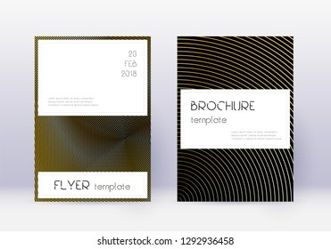 Stylish cover design template set. Gold abstract lines on black background. Favorable cover design. Attractive catalog, poster, book template etc.