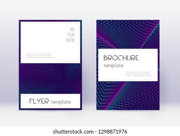 Stylish cover design template set. Neon abstract lines on dark blue background. Favorable cover design. Wondrous catalog, poster, book template etc.