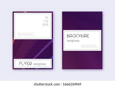 Stylish cover design template set. Violet abstract lines on dark background. Flawless cover design. Awesome catalog, poster, book template etc.