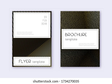 Stylish cover design template set. Gold abstract lines on black background. Favorable cover design. Captivating catalog, poster, book template etc.