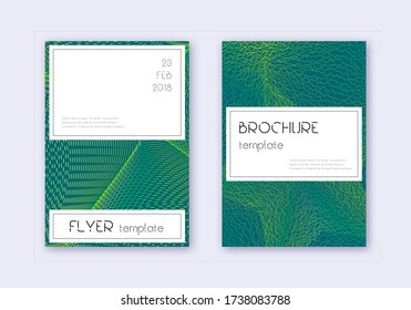 Stylish cover design template set. Green abstract lines on dark background. Favorable cover design. Neat catalog, poster, book template etc.