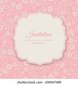 Stylish cover with flowers on pink background