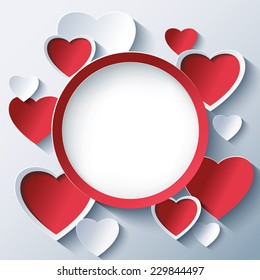 Stylish creative abstract background with red and white 3d cut paper hearts. Valentines Day frame with stylized hearts. Beautiful love card for Valentines day. Vector illustration.