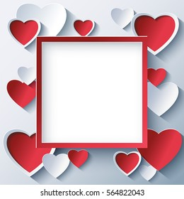 Stylish creative abstract background with red and white 3d hearts cutting paper. Romantic square frame. Beautiful love card for Valentines day. Vector illustration.