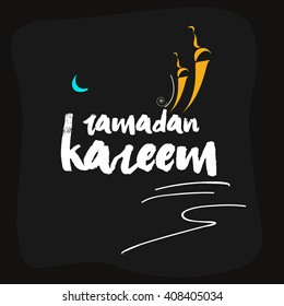 Stylish and creative text of Ramadan Kareem on dark background with mosque and moon for Islamic Festival Ramadan Kareem.