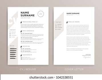 Stylish curriculum vitae CV and cover letter design template - rose brown color vector background
