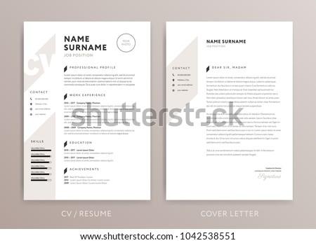 stylish curriculum vitae cv cover letter のベクター画像素材