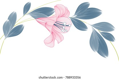 Stylish cute spring background with lily flowers painted by hand.