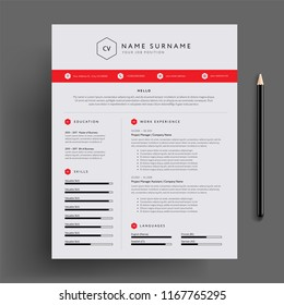 Stylish CV / resume design template red. Super clean and clear professional modern design. Red design elements and icons - vector template