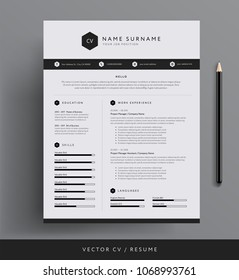 Stylish CV Resume template sample - black and white minimal design vector