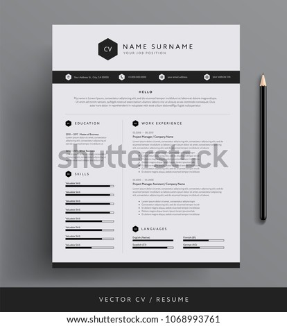 stylish cv resume template sample black のベクター画像素材