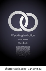Stylish dark wedding invitation template with white rings and sample text. EPS10 vector.