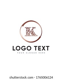 Stylish decorative letter type K logo template, Vector logo for business and company identity
