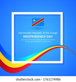 Stylish Democratic Republic of the Congo country independence day concept illustration with tricolors wave on classic greeting background