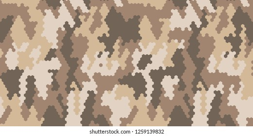 Stylish desert camouflage. Original camouflage spots from rhombuses. Seamless vector illustration. Abstract military khaki background. Military sand style design for masking equipment and clothing.