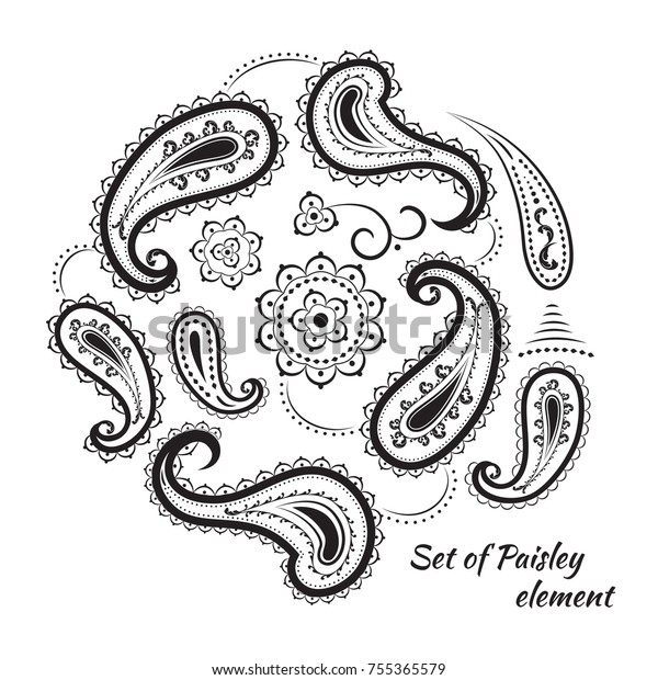 Stylish design of elements in the style of paisley. Black and white monochrome pattern.
