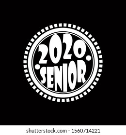 Stylish design for printing on high school graduation clothes. The senior design in the form of a print on a t-shirt. Logo on a dark background for graduation.